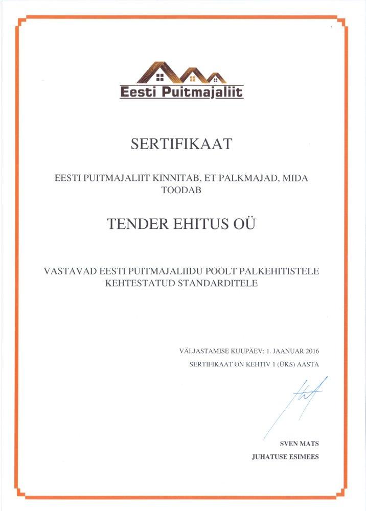 Eesti Puitmajaliidu sertifikaat