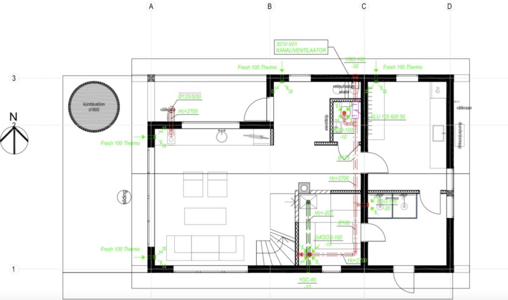 palkmajade ehitus ventilatsiooni lahendamine